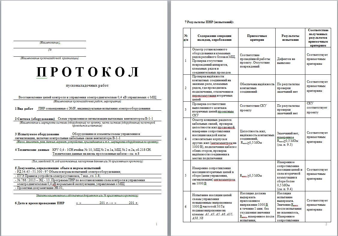 Протокол пусконаладочных работ