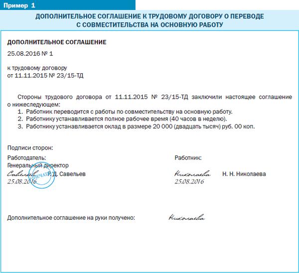 Образец доп соглашения о переводе с совместителя на основное место работы